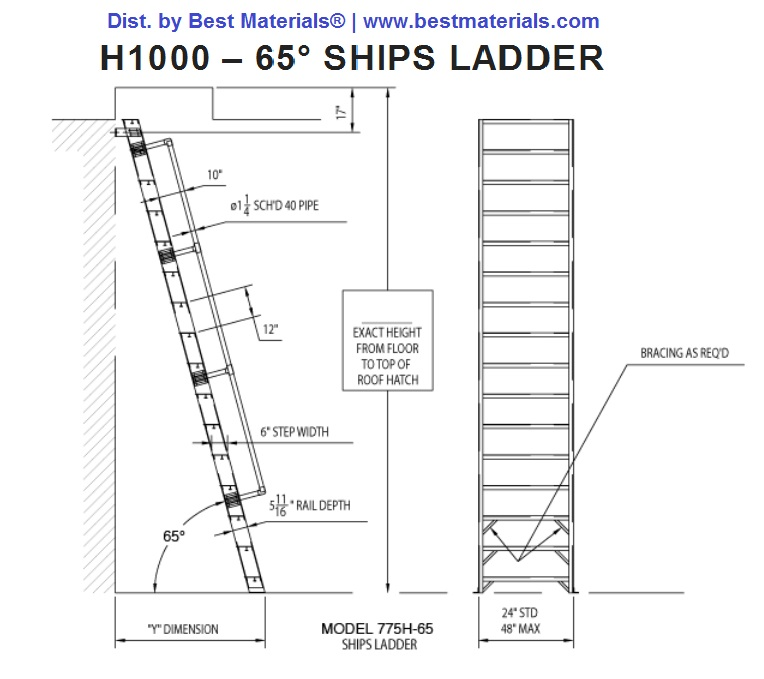 Alaco H1000 Ships Stair Wall Mount Ladder W Handrail 8