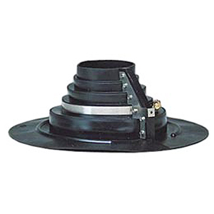Large Retrofit Pipe Flashing, 3-1/2 to 6 Inch, Neoprene - Portals Plus #12025 Neoprene Retrofit Pipe Flashing System. For Hot Applied, Tar, Bitume Roofs. 14.5 inch OD round base. Top fits pipe sizes 3-1/2 to 6 inch Diameter. Price/Each. (shipping leadtime 1-3 business days)