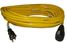 100 Foot Yellow Extension Cord, 15A 125V, 12/3 SJTW, 5-15 Plugs - 100 Foot 15 Amp 125V Extension Cord, 12/3, Yellow SJTW UL/OSHA/ NEMA Approved, Straight 5-15P Plug and 5-15C Connector (3-Wire, 2-Pole 125V). Price/Each.