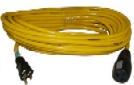 100 Foot Yellow Extension Cord, 15A 125V, 12/3 SJTW, 5-15 Plugs