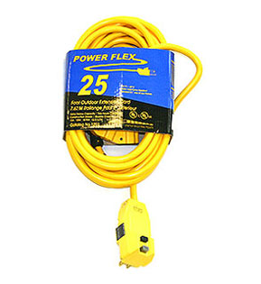 GFCI Protected Extension Cord, 100 ft., 15A/125V, 3-TAP NEMA 5-15 - 100 ft. In-Line GFCI Protected Power Cord, 12/3 SJTW, Triple-Tap NEMA 5-15R Connectors, 1 NEMA 5-15P Plug, LED Power Light, 15A/125V. UL Listed. Assembled in USA by CEP. Price/Each. (shipping leadtime 1-2 business days)