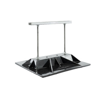 Conduit Support System, 16 in. Wide X 12 in. Unistrut  (1) - Miro Model 16-Base-Strut-12 Rooftop Gang Conduit Support, 16 in. Wide, 2.5 in. to 12 in. Height-Adjustable. 9 x 15-1/4 Polycarbonate Gang-Pipe Support. 1-unit. Price/Each. (4/case, order full cases for added discount. Ship leadtime 2-4 business days)
