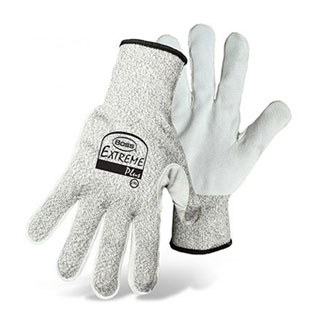 Boss #1CF7003 Extreme Plus Glove, Cowhide Leather Palm, 12 Pairs/Pack - Boss #1CF7003 Extreme Plus Glove, ANSI Cut-Level 4 Resistance. HPPE fabric w/ blend of Nylon/Glass Fiber. Split Cowhide Leather Palm Patch, Knit Wrist. 12 Pair/Pack. Price/Pack. (Specify Size before adding to cart; ship Leadtime 1-2 business days)
