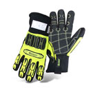 Boss #1JM750 Mechanics Glove, High-Vis, Cut Level 3, Impact Res, 6-Pair