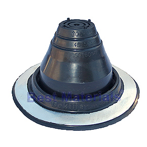 #1 Round Base Black EPDM Pipe Flashing - #1 ROUND BASE BLACK EPDM PIPE FLASHING. 4-7/8 DIAMETER BASE X 2-5/8 HIGH. CLOSED TOP. FITS 1/4 to 2-3/8 PIPES, ANTENNA, ETC. PRICE/EACH.