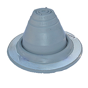 #1 Round Base Gray EPDM Pipe Flashing - #1 Round Base GRAY Color EPDM Pipe Flashing. 4-3/4 diameter base X 2-5/8 High with a Closed Top. Fits 1/4 to 2-1/2 inch Pipes. Price/Each. (aka Deks # DF101G)
