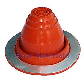 #1 Round Base Red Silicone Pipe Flashing - #1 Size Round Base Red Silicone Pipe Flashing. 4-7/8 inch Diameter Base X 2-5/8 High. Closed Top. Fits 1/4 to 2-3/8 inch Piples, Antennas, Wires, Conduit, Etc. Price/Each. (aka # DF201RE)