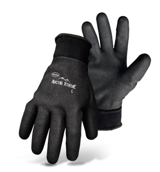 Boss #1UH7841 Gloves, Arctik Xtreme, Therm Ins., 12-Pair, Specify Size - Boss #1UH7841 Full Dip Foam Nitrile Acrylic Lined Glove. Cold Weather Gloves. Acrylic Terry-Lined Polyester Shell is used For Maximum Warmth. Knit Wrist. 12 Pair/Pack. Price/Pack. (SPECIFY SIZE before adding to cart; ship leadtime 1-3 business days).