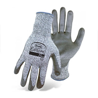 Boss #1CF7000 Extreme Plus Gloves, Cut Level-3, PU Palm Dip, 12-Pairs - Boss #1CF7000 Extreme Plus Cut Resistant Gloves. HPPE Shell, EN 388/ANSI Cut-Level 3 Resistance. Fabric is HPPE with a blend of Spandex, Polyester & Glass-Fiber. Polyurethane Dipped Palms. 12 Pairs/Pack. Price/Pack. (Shipping Leadtime 1-3 business days)