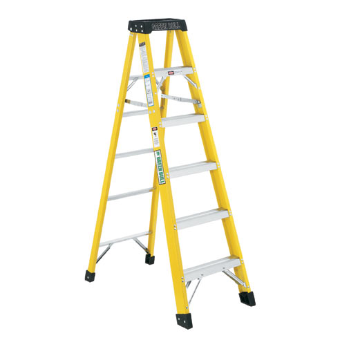 8 ft. Fiberglass Step Ladder, 300 Lb., Greenbull - GREEN BULL 8 FT. FIBERGLASS STEP LADDER. TYPE 1A 300LB