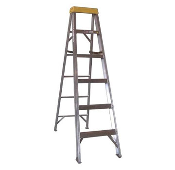 6 ft. Aluminum Step Ladder, Type 1A 300 Lb., Made/USA - 6 Foot Aluminum Step Ladder, Type 1A Extra Heavy Duty Industrial, 300 lb. Capacity, OSHA/ANSI Compliant. Made in USA by Sunset Ladder. Price/Each.