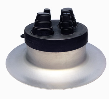 Portals 23025 Alumi-Flash Ex-Wide Pipe Flashing w/C-212 Cap - Portals Plus #23025 Alumi-Flash Extra Wide Spun Aluminum Pipe Flashing Base with C-212 EPDM Cap (fits two pipes .375 - 1 inch diameter AND two pipes 1-2 inch diameter). Price/Each. (shipping leadtime 1-3 business days)