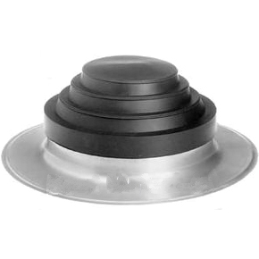 Portals #22051, Large Alumi-Flash Flashing w/C-182 8-12 Cap - Portals Plus #22051 Alumi-flash Pipe Flashing System. Large Spun Aluminum Base, 14 Id X 22 OD, 4 Inch High Collar. C-182 Black EPDM Pipe Flashing Fits One 8-12 Inch OD. Pipe. Price/Each. (shipping leadtime 1-3 business days)