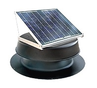 Solar Powered Attic Fan, Flat Base, 12W, 893 CFM (specify COLOR) - Natural Light SAF12 Solar Powered Self-Contained Attic Ventilator Fan Kit. Includes Adjustable Solar Panel 12 Watt. Capacity 893 CFM (for 1260 SqFt area). Price/Kit. (specify COLOR before adding to cart; UPS shipping only)