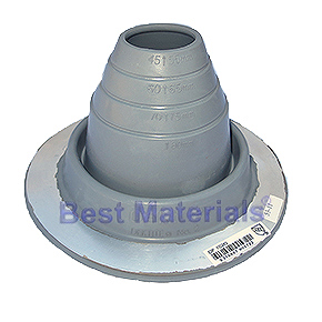 #2 Round Base Gray EPDM Pipe Flashings (1) - #2 ROUND BASE GRAY COLOR EPDM PIPE FLASHINGS. 6.2 Inch DIAMETER BASE. 1.4 Inch OPEN TOP. FITS 1-3/4 Inch to 3 Inch PIPES. PRICE/EACH. (15 boots /case)