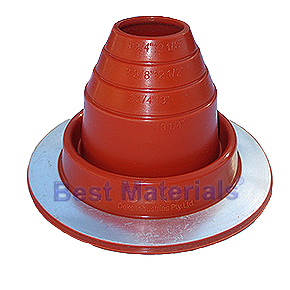 #2 Round Base Silicone Pipe Flashing - #2 ROUND BASE RED SILICONE PIPE FLASHING. 6.21 Inch DIAMETER BASE. OPEN TOP. FITS 1-3/4 Inch to 3 Inch PIPE ETC. PRICE/EACH.