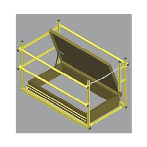 30 X 108 Roof Hatch Safety Rail System w/Mount Brackets, Yellow - Roof Hatch Safety Guard Rail System, 30x108 inch size (inside opening size). Uses special mount bracket set (included). Fits side-ladder, Rear-Hinge hatch design. Yellow. Price/Each. (Special Order Item: see ordering notes in detail view)