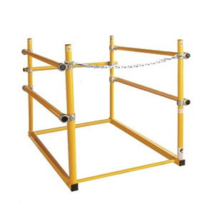 "30 X 48 Roof Hatch Safety Railing, Front Access, Yellow - OSHA Safety railing system for 30 in. X 48 in. Roof access hatch. Fits front-ladder rear-hinge design hatch [railing is open on the 30"" side]. Yellow powder coat finish. Price/Each.  (aka HR3856, SHWC-3048)"