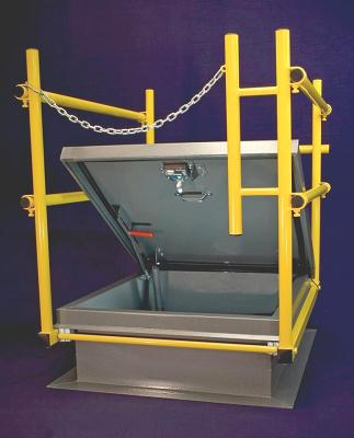 36 X 36 in. Roof Hatch Safety Railing, All Access, Yellow - OSHA Compliant Safety Railing System for 36 x 36 inch (inside opening size) Roof access hatches. Fits all designs. Yellow powder coat finish. Includes Galv. Instal Hardware, Compression Gasket, Clamps, Safety Chain. Price/Each. (aka HR4444, SHWC-3636)