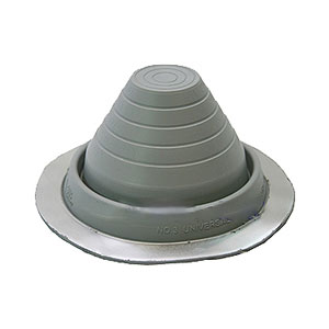 #3 Round Base Gray EPDM Pipe Flashings (1) - #3 ROUND BASE GRAY COLOR EPDM PIPE FLASHINGS. 8 INCH DIAMETER x 4 HIGH BASE. CLOSED TOP. FITS 1/4 Inch to 4-1/4 Inch PIPES. PRICE/EACH BOOT.