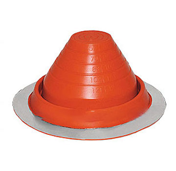 #3 Round Base RED Silicone Pipe Flashing - #3 ROUND BASE RED SILICONE PIPE FLASHING. 7-3/4 INCH DIAMETER BASE x 4 HIGH. CLOSED TOP. FITS 1/4 Inch to 4-1/4 Inch PIPE, ANTENNA, ETC. PRICE/EACH.