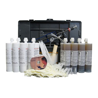 Concrete Wall Crack Repair Kit, Urethane Injection, 40 ft. - Concrete Wall Crack Complete Repair Kit, Low Pressure Polyurethane Foam Injection for up to 40 ft. Uses NON-peelable Port/Crack Cover Adhesive. Includes injection foam, ports, port paste, caulk gun etc. Price/Kit. (UPS Ground shipment only)