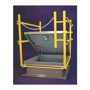 48 x 96 inch Roof Hatch Safety Rail System, Yellow - OSHA Safety Railing System for 48 X 96 inch Roof Access Hatch. Clamp on non-penetrating design. Yellow powder coat finish. Price/System. (aka SHWC9648)