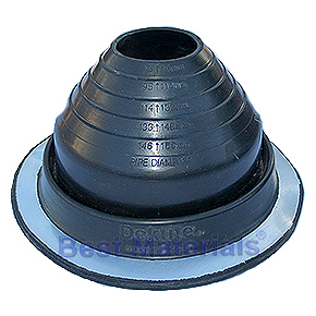 #4 Round Base Black EPDM Pipe Flashing (1) - #4 ROUND BASE BLACK EPDM PIPE FLASHING. 9.25 Inch DIAMETER BASE. 2.3 Inch OPEN TOP. FITS 3 Inch to 6-1/4 Inch PIPES. PRICE/EACH. (10/case).