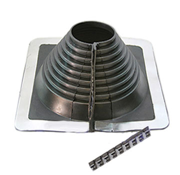 #4 Multi-Flash Retrofit Black EPDM Square-Base Flashing - #4 Multi-Flash, Retrofit Style Black EPDM, Square-based Pipe Flashing Boot. 10 X 10 inch Base, Open Top. Retro-Mode fits 2-1/4 To 6-1/2 OD Pipe. Price/Each.