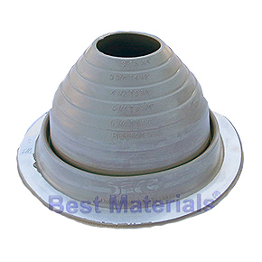#4 Round Base Gray EPDM Pipe Flashing (1) - #4 ROUND BASE GRAY EPDM PIPE FLASHING. 9.25 Inch DIAMETER BASE. 2.3 Inch OPEN TOP. FITS 3 Inch to 6-1/4 Inch PIPES. PRICE/EACH BOOT. (10 boots/case).