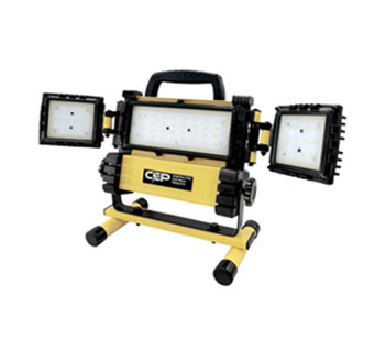 CEP  #5220, Portable 3-Head LED Work / Flood Light, 51-watt, Portable - CEP #5220, Portable Work Light / Floodlight. 3 Rotating Lamp Heads, 3000 Lumens, 51 watt, 0.5A 120V. Price/Each. (shipping lead time 1-2 business days)