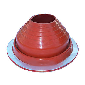 #5 Round Base RED Silicone Pipe Flashing - #5 ROUND BASE RED SILICONE PIPE FLASHING. 10-3/4 Inch DIAMETER BASE. OPEN TOP. FITS 4-1/4 Inch to 6-3/4 Inch PIPE. PRICE/EACH.