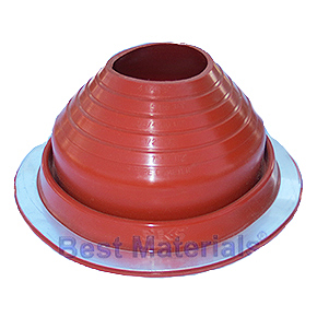#5 Round Base Silicone Pipe Flashing - #5 ROUND BASE RED SILICONE PIPE FLASHING. 10-3/4 Inch DIAMETER BASE. OPEN TOP. FITS 4-1/4 Inch to 6-3/4 Inch PIPE. PRICE/EACH.