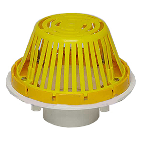 3 in. PVC Roof Drain, w/ Plastic, Dome - 3 Inch White PVC Roof Drain With Plastic Dome. Portals #61001. Price/Each. (shipping leadtime 1-3 business days)