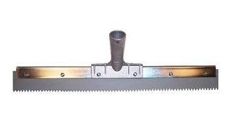 Squeegee 18 x 3/16 Serrated, Gray EPDM in Steel Frame (1) - SQUEEGEE, 18 INCH WIDE WITH 3/16 SERRATED (V-notched), GRAY EPDM RUBBER,  REPLACEABLE BLADE TYPE, SET IN HEAVY DUTY STEEL FRAME. RECOMMENDED FOR USE WITH DECK COATINGS. PRICE/EACH.