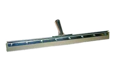 Squeegee 24 x 1/4 Serrated Gray EPDM in Steel Frame (1) - SQUEEGEE, 24 INCH WIDE, 1/4 INCH SERRATED (V-notched) GRAY EPDM RUBBER, STRAIGHT SQUEEGEE, SET IN STEEL FRAME. BLADE CAN BE REPLACED IN FRAME. RECOMMENDED FOR USE WITH DECK COATINGS. PRICE/EACH.