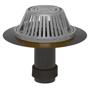 3 in. ABS Reroof Drain, Aluminum Dome, Clamp Ring, Exp. Seal - 3 Inch Outlet, Abs Roof Drain, 14 Inch OD. Abs Flange, 10 Inch Long Abs Outlet With Expanding Foam Seal, Cast Aluminum Drain Dome, Cast Aluminum Epoxy Coated Clamping Ring. Price/Each. (shipping leadtime 1-3 business days)