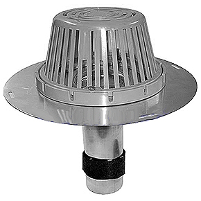 2 in. Aluminum Re-Roof Drain, W/ CAST Aluminum Dome - Portals Plus #66101 2 in. Aluminum Re-Roof Drain, with CAST ALUMINUM Dome, Clamping Ring, 10 in. down-pipe, pre-compressed expanding-foam tape seal. Fits 2 in. ID pipes. Price/Each. (shipping leadtime 1-3 business days)