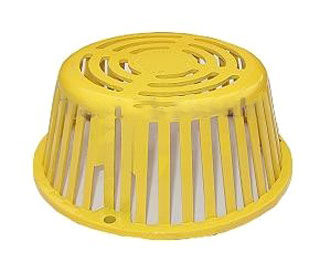 10 inch Plastic Roof Drain Dome / Strainer / Grate, 3-Hole, Yellow - Portals # 67111, 10 inch Yellow Polyethylene Drain Dome / Strainer/ Grate. 9-1/2 OD Base X 4-1/4 High with 3-Bolt Mounting Holes. Replaces Popular 10 Inch Plastic Strainers / Domes. Price/Each. (shipping leadtime 1-3 business days)