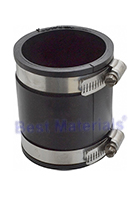 Drain Coupling, 2 to 2 In. Straight Adaptor, PVC Rubber