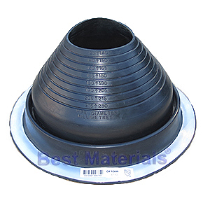 #6 Round Base Black EPDM Pipe Flashing (1) - #6 ROUND BASE BLACK EPDM PIPE FLASHING. 12-1/2 Inch DIAMETER BASE. 4.9 Inch OPEN TOP. FITS 5 Inch to 9 Inch PIPES. PRICE/EACH. 10/case.