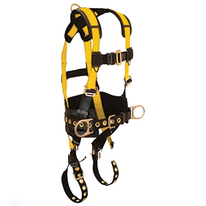 Full Body Harness, With Tool Belt, 3 D-Ring, 5 Point, L Size - Falltech #7035L, Journeyman Series LARGE size full body harness, 5 point, with 3 D-rings, D-ring on center back, tool belt, back pad.