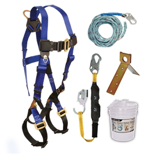 Roofers Fall Arrest / Fall Protection Kit, XL Size - FALLTECH BASIC ROOFERS FALL ARREST / PROTECTION KIT IN BUCKET. BUCKET CONTAINS 7007 EXTRA-LARGE FULL BODY HARNESS, SINGLE USE ROOF PEAK ANCHOR, 50
