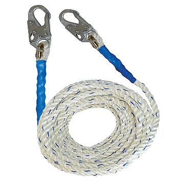 5/8 in. X 50 ft. Vertical Lifeline Polyester Rope, 2 Snap-Hooks - 5/8 INCH X 50 FT. VERTICAL LIFELINE POLYESTER ROPE WITH LOCKING SNAP-HOOKS ON BOTH ENDS. MEETS ANSI Z359.2007. PRICE/EACH.