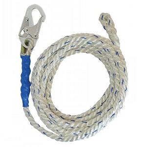 5/8 Inch X 75 Ft. Vertical Lifeline Polyester Rope,  Hook/Thimble - 5/8 INCH X 75 FT. VERTICAL LIFELINE POLYESTER ROPE WITH LOCKING SNAP HOOK ONE END, STEEL THIMBLE OTHER END. ANSI Z359.2007. PRICE/EACH.