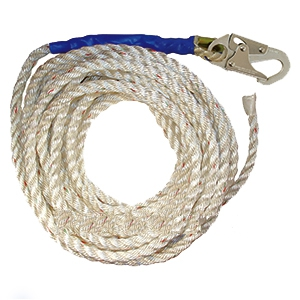 5/8 Inch X 100 Ft. Vertical Lifeline Polyester Rope, 1- Hook - 5/8 INCH X 100 FT. VERTICAL LIFELINE POLYESTER ROPE WITH LOCKING SNAP-HOOK AND TAPED TRAILING END. MEETS OSHA 1926 AND ANSI Z359.2007. PRICE/EACH.