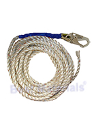 5/8 Inch X 100 Ft. Vertical Lifeline Polyester Rope, 1- Hook