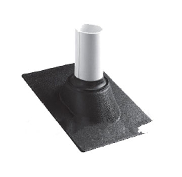 Shingle Roof 1.25-1.5 in. Pipe Flashing, Thermoplastic Base - Portals Plus #85309, 1.25-1.5 In. OD Pipe, Shingle Roof Pipe Flashing With 13 X 9.5 Inch Thermoplastic Base. Price/each. (15/case; order full cases for extra discounts; shipping leadtime 1-2 business days)