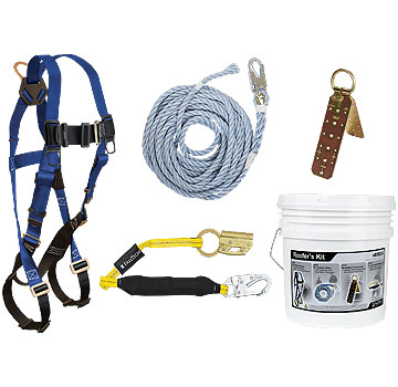 Roofers Fall Arrest / Fall Protection Kit w/ Hinged Anchor - Falltech Basic Roofers Fall Arrest / Protection Kit in Bucket. Bucket Contains 7015 Full Body Harness, Hinged Re-Useable Roof Peak Anchor, 50 Ft X 5/8 inch Lifeline, 3 Ft Lanyard w/ Locking Snap-Hook & Manual Rope Grab. Fits S-L. Price/Kit.