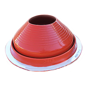 #8 Round Base Silicone Pipe Flashing - #8 ROUND BASE RED SILICONE PIPE FLASHING. 16-1/2 Inch DIAMETER BASE. OPEN TOP. FITS 6-3/4 Inch to 12-1/4 Inch PIPE, ANTENNA, ETC. PRICE/EACH. (aka Deks DF208RE)